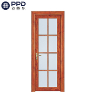 FPL-7012 Rustic Frosted Glass Bathroom Aluminum Door Interior Door